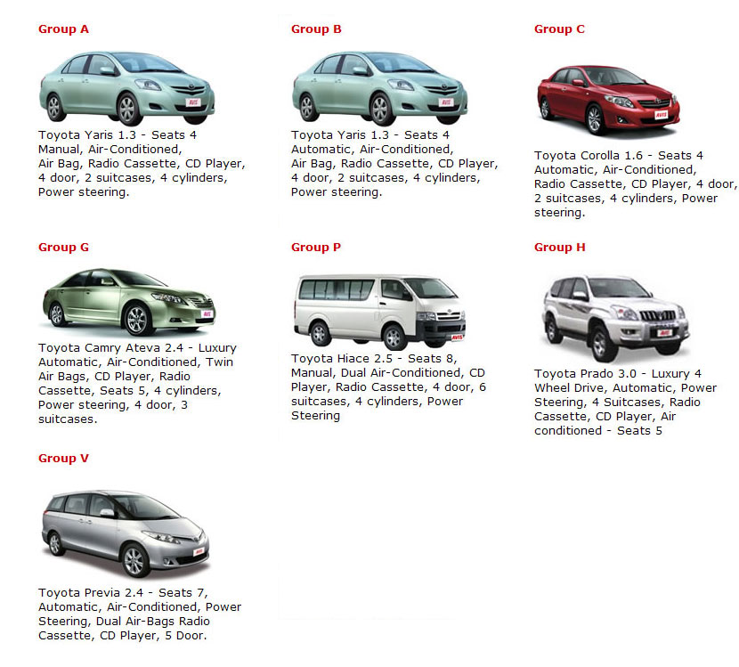 All rental car companies list 14